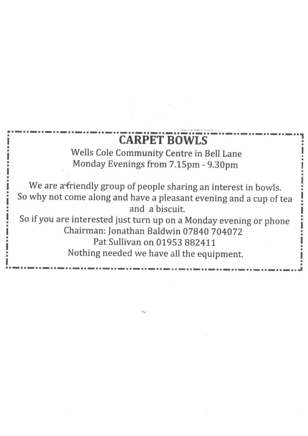 Carpet bowls @ Main Hall